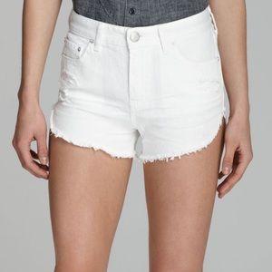 Free People White Denim Cutoff Shorts